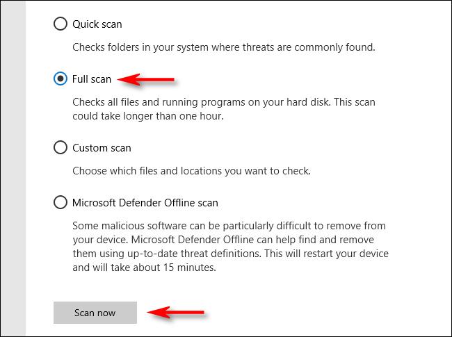Haga clic en Análisis completo en Microsoft Defender en Windows 10