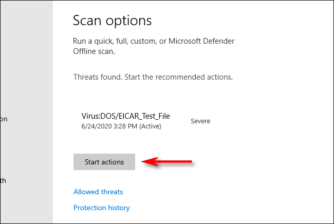 Click Start Actions in Microsoft Defender