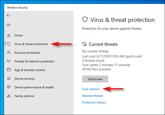 Click Scan options in Microsoft Defender on Windows 10