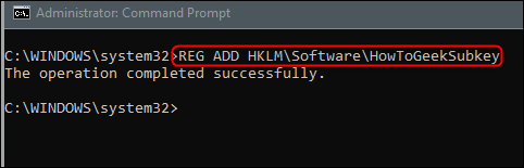 command for adding a subkey to the registry