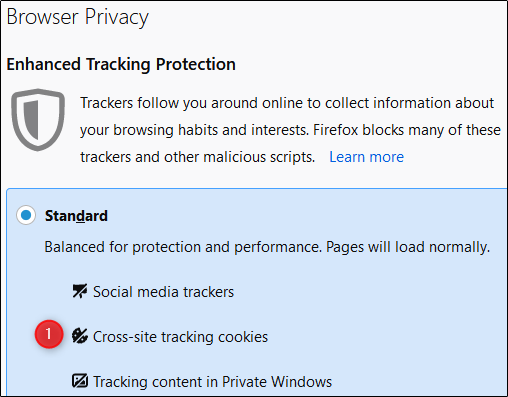 "The ""Browser Privacy"" menu in Firefox."