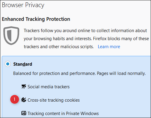 """The """"Browser Privacy"""" menu in Firefox."""
