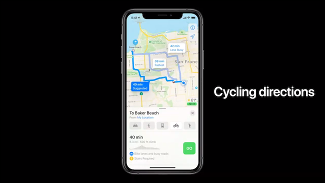 Cycling directions in Apple Maps