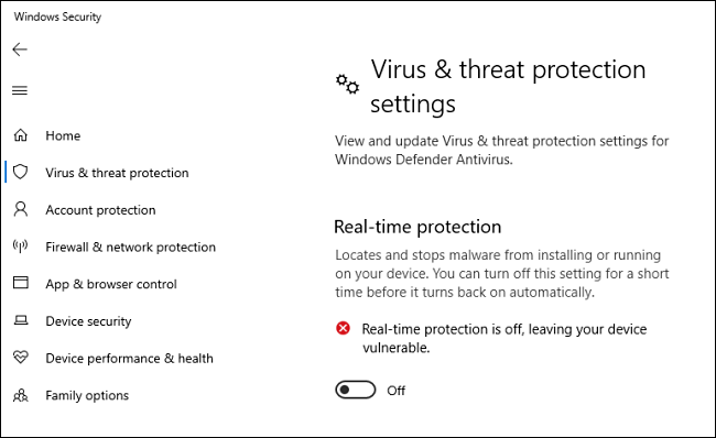 Windows 10 Defender Antivirus Real-Time Protection Option Turned Off