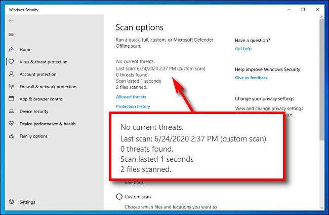 Microsoft Defender scan results