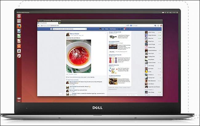 La laptop Dell XPS 13 Developer Edition que muestra un escritorio Ubuntu.