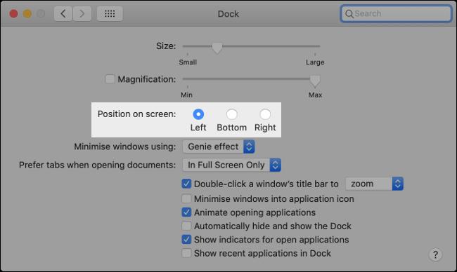 """El ajuste """"Posición en pantalla"""" en el menú """"Dock"""" en macOS."""