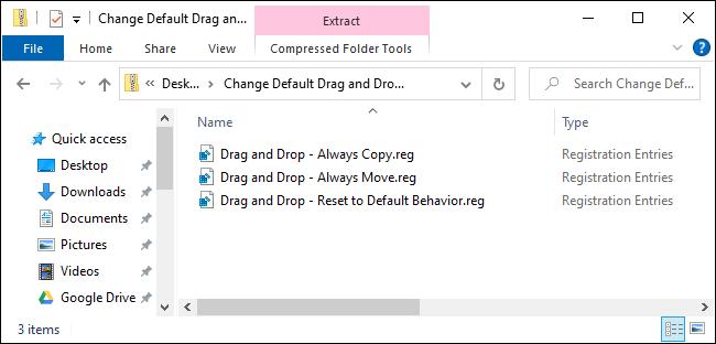 ลากและวางแฮ็กรีจิสทรีสำหรับ Windows 10