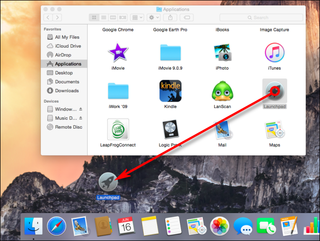 Drag the Launchpad App Icon from the Applications Folder to the Dock on Mac
