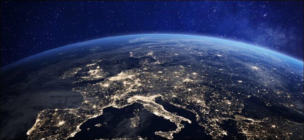 A rendering of Earth viewed from space at night showing lights in Europe.