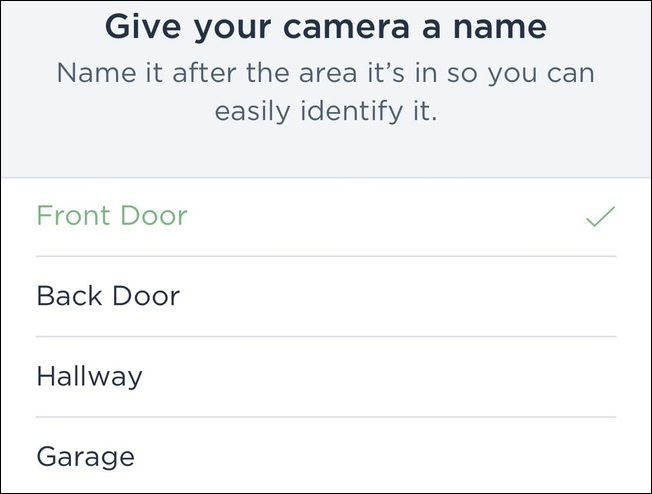 Selecting a camera name for your ecobee