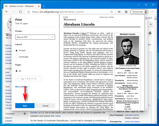 Click Save in Print Window in Microsoft Edge