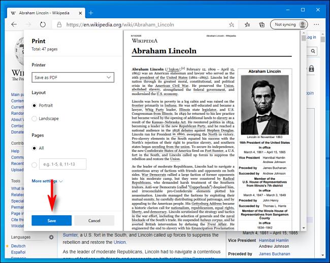 Click Save in Print Window in Microsoft Edge