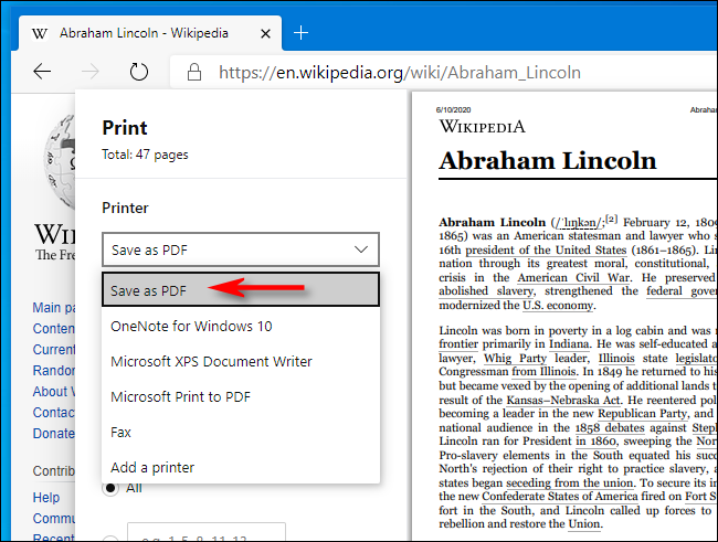 Select Save as PDF in Print window in Microsoft Edge