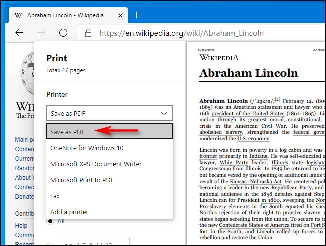 Select Save as PDF in Print window in Microsoft Edge