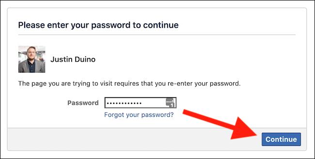 "Enter your Facebook password and then click the ""Continue"" button"