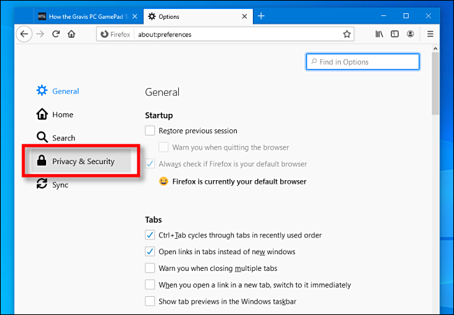 Click Privacy and Security in Firefox