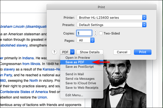 Select Save as PDF in Firefox on Mac