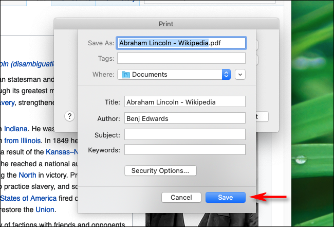 Type file name and click Save in Firefox on Mac