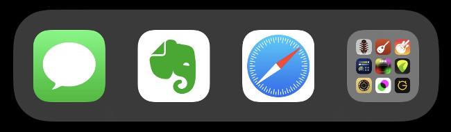 A folder in the iOS Dock.