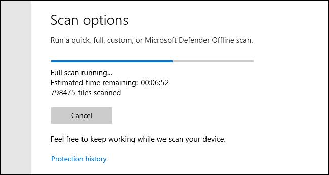 Análisis completo de Microsoft Defender en curso en Windows 10
