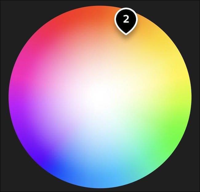 The color wheel in the Philips Hue app.