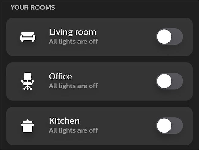 "The ""Your Rooms"" menu in the Philips Hue app."