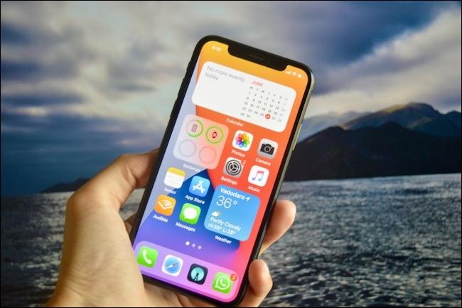 iOS 14 Home screen with three widgets