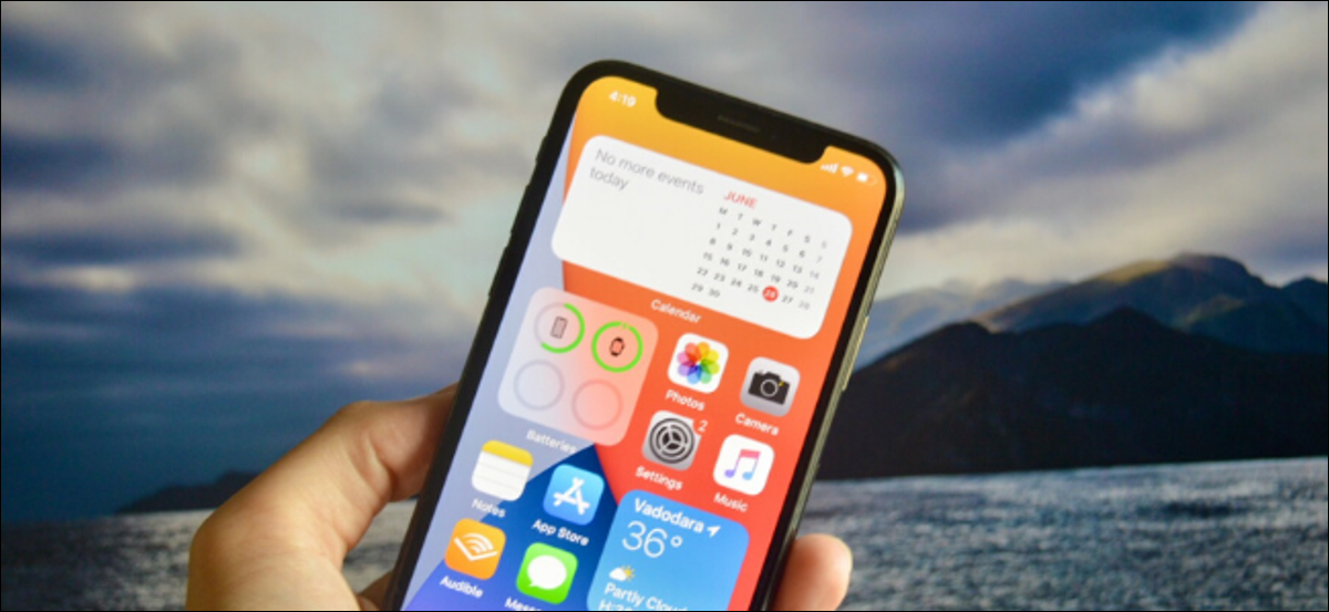 iOS 14 home screen with widgets