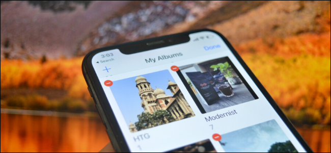 iPhone user deleting an album from Photos app