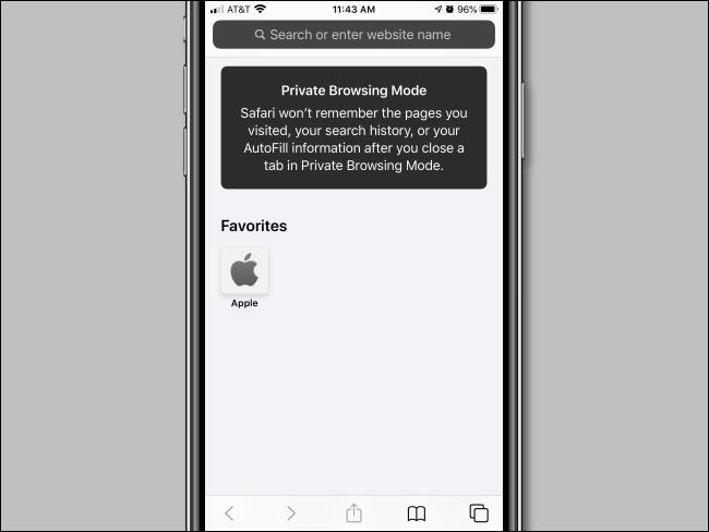 Ventana del modo de navegación privada de iPhone