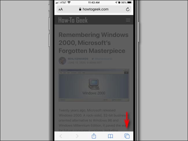 Tap open new window in Safari for iPhone