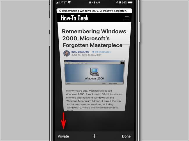Tap Private button in Safari for iPhone