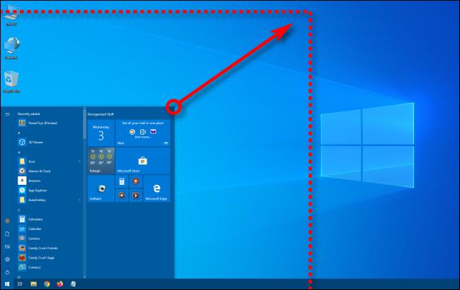 Resizing the Windows 10 Start menu diagonally