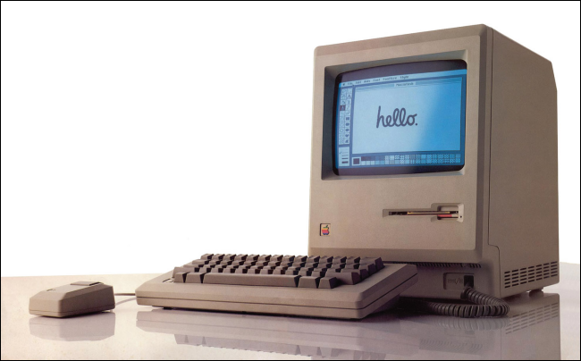 "An original 1984 Macintosh with ""Hello"" on its screen."