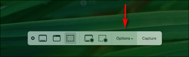 Click Options button in Mac screenshot toolbar