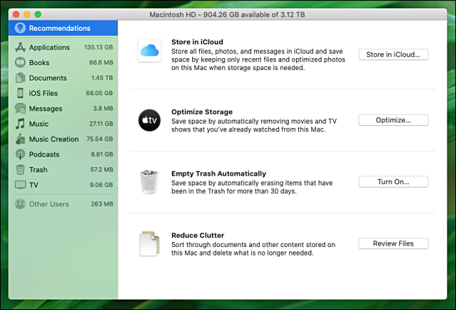 macOS Catalina tools that help manage disk space