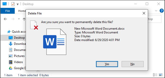 The confirmation prompt when deleting a file with Shift+Delete.