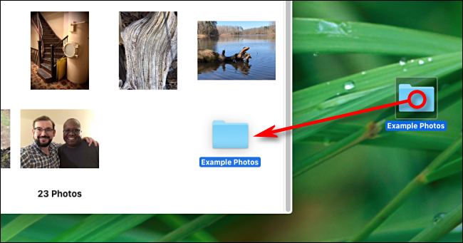 Drag a folder onto Photos app window to import on Mac