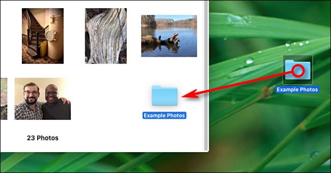 Drag a folder onto Photos app window to import on Mac