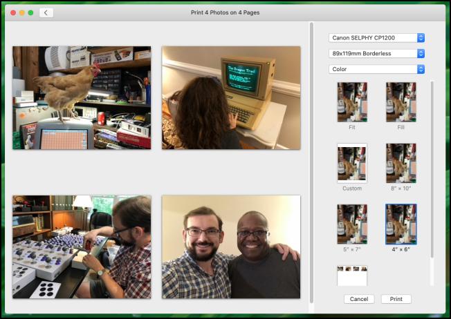 Apple Photos app Print dialog in macOS Catalina