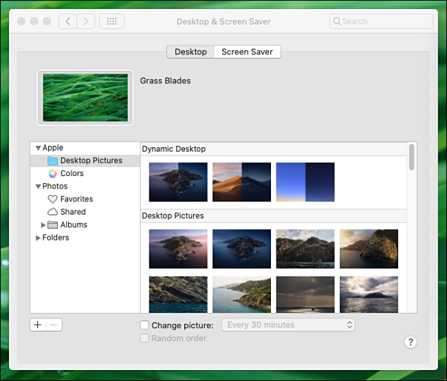 Primary Desktop wallpaper settings window in System Preferences on a Mac