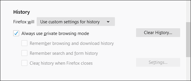 Always use private browsing mode checked in Firefox