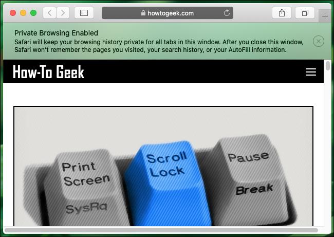 หน้าต่างการท่องเว็บแบบส่วนตัวใน Safari