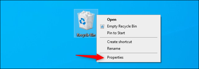 Opening the Recycle Bin properties window.