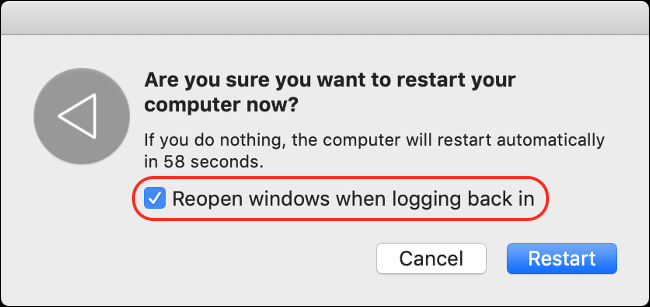"The ""Reopen Windows When Logging in"" option."