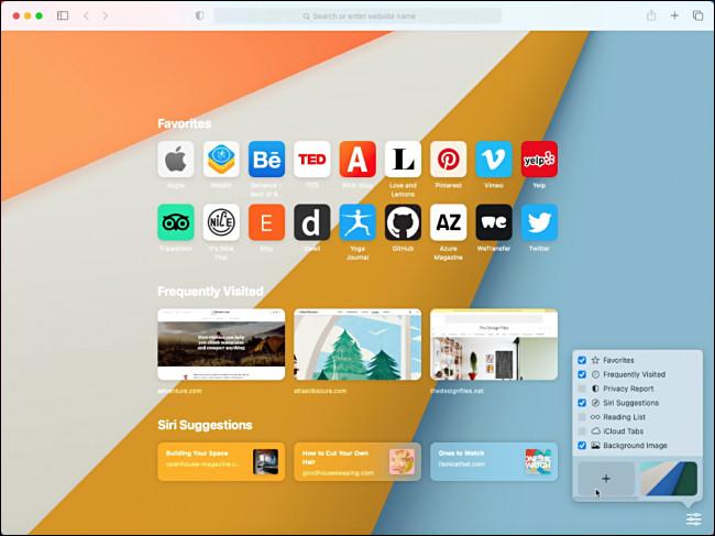 Apple Safari Start Page in macOS 11.0 Big Sur