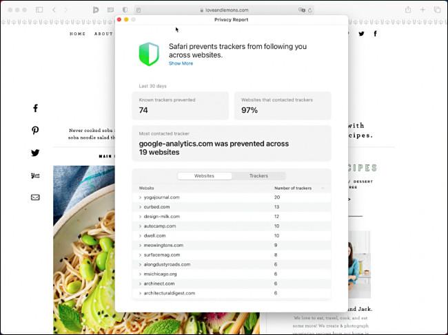 Apple Safari Privacy Report in macOS 11.0 Big Sur