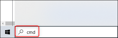 search cmd in windows search bar