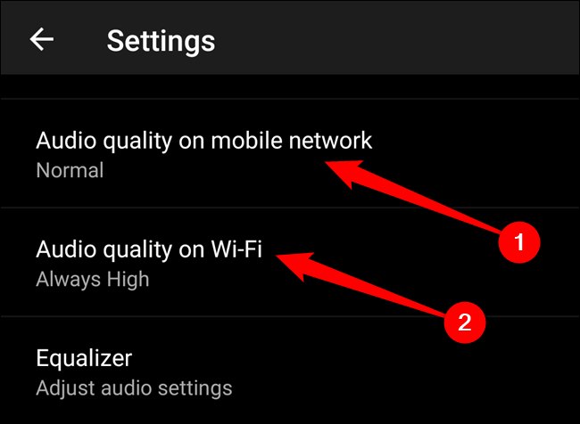 "Choose either the ""Audio Quality On Mobile Network"" or ""Audio Quality On Wi-Fi"" option"